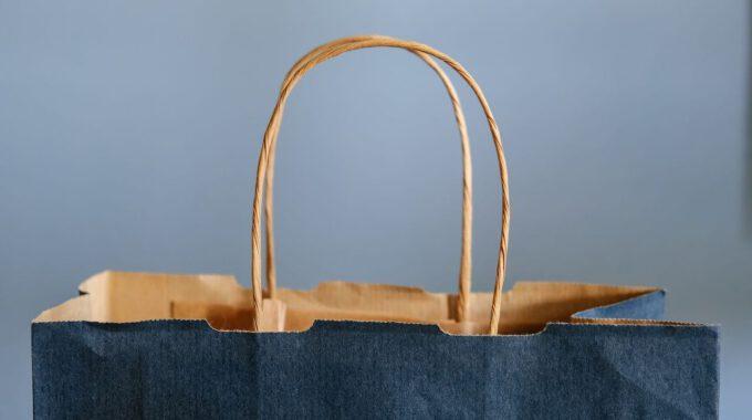 Einkaufstüte Aus Blauem Papier
