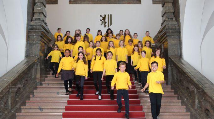 Mitglieder Des Kinderchores Der Schola Cantorum Leipzig Während Eines Fotoshootings Im Neuen Rathaus Leipzig