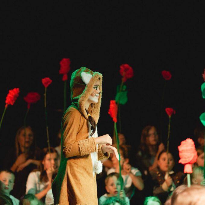 """Der Fuchs In Der Kinderoper """"Der Kleine Prinz"""", Im Hintergrund Viele Rosen"""