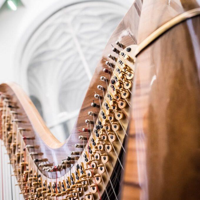 Konzertharfe Während Einer Vesper In Der Leipziger Universitätskirche St. Pauli