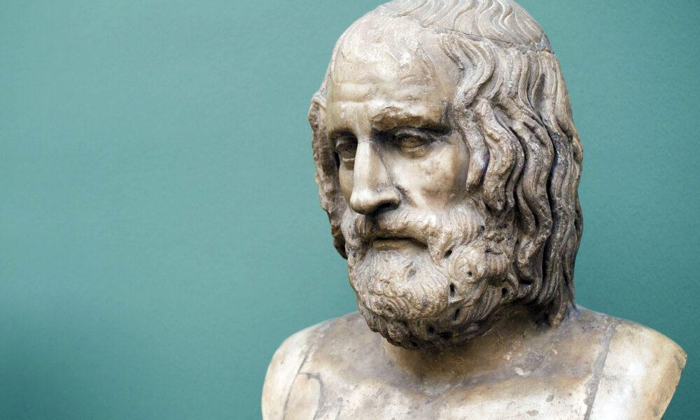 Antike Büste Des Euripides