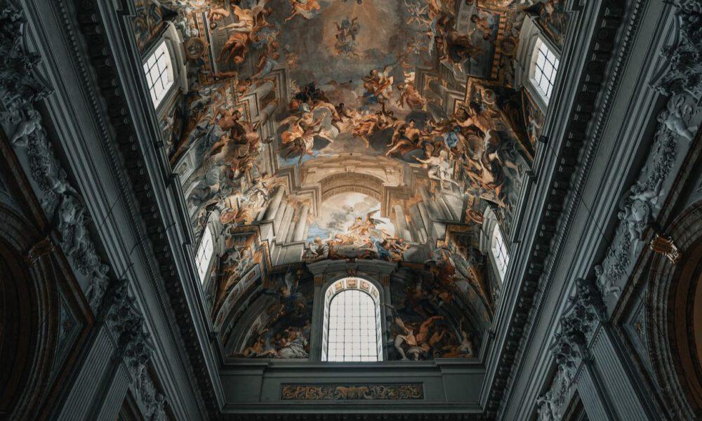 Farbenprächtiges Deckengemälde In Der Kirche St. Ignatius Von Loyola (Rom)