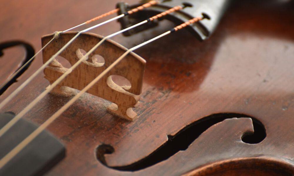 Detailaufnahme Einer Violine Mit Steg Und F-loch