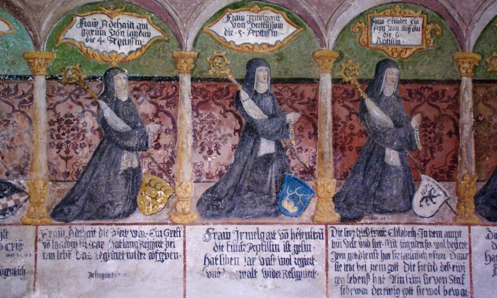 Mittelalterliches Wandfresko Mit Klosterszenen