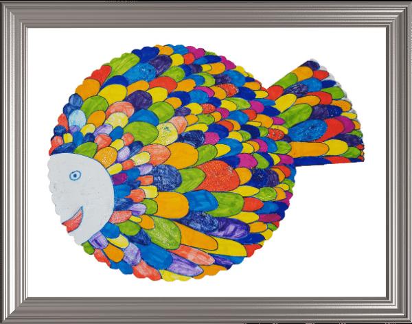 selbst gemalter Regenbogenfisch