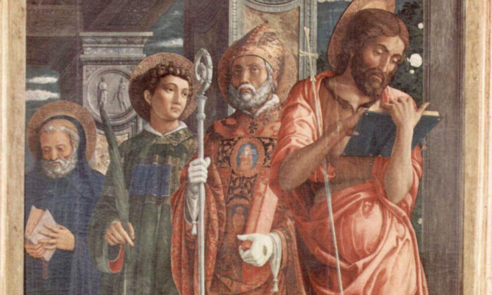 Mittelalterliche Darstellung Der Heiligen Benedikt, Laurentius, Gregorius Und Johannes Des Täufers