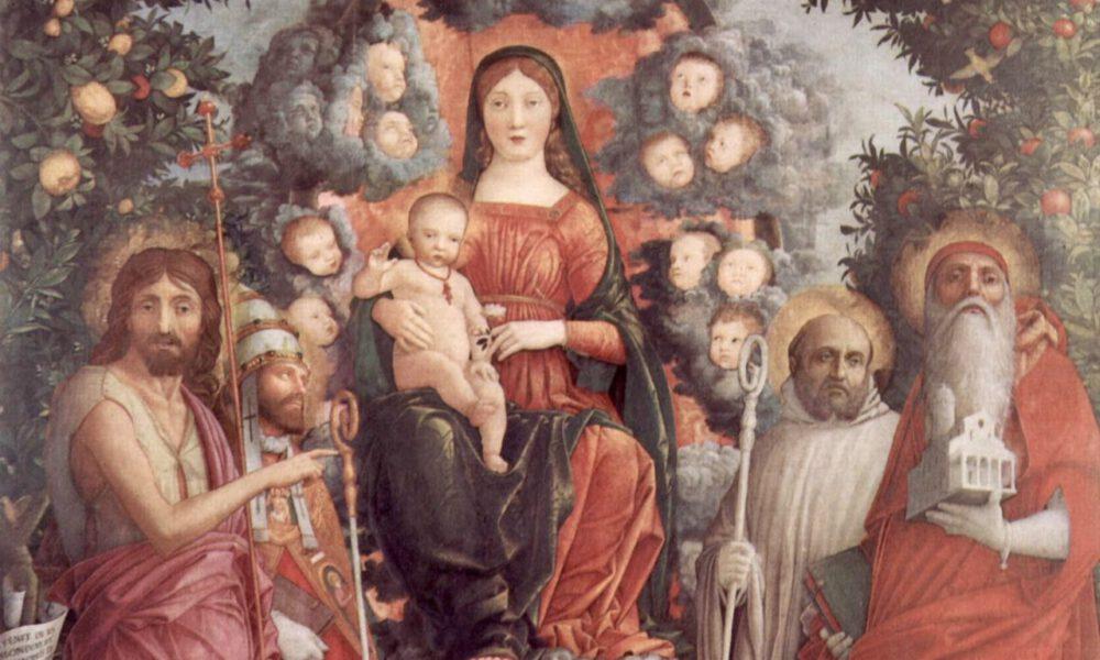 Mittelalterliche Darstellung Einer Madonna Mit Christuskind Und Heiligen