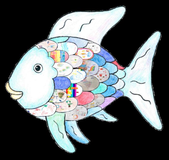 Regenbogenfisch Mit Von Chormitgliedern Gestalteten Schuppen