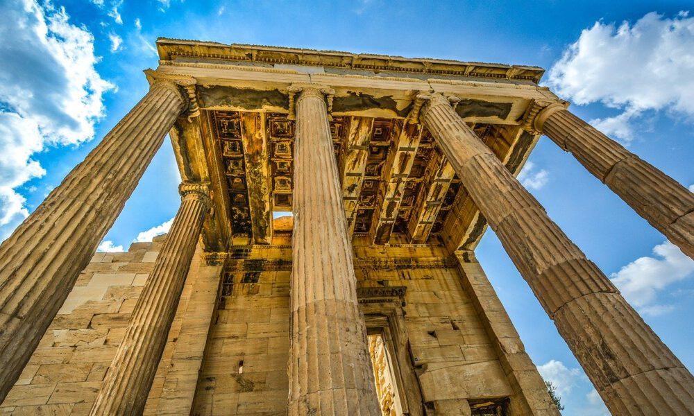 Säulen Der Akropolis In Athen Vor Blauem Himmel