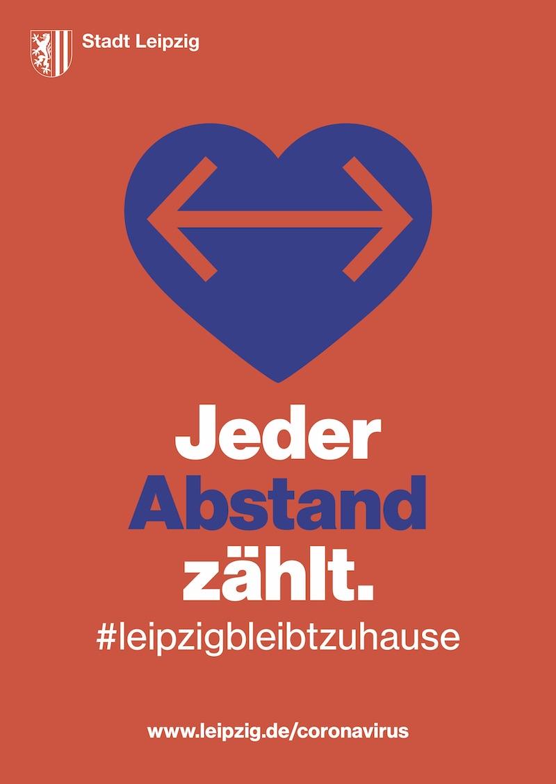 Plakataktion der Stadt Leipzig: Jeder Abstand zählt